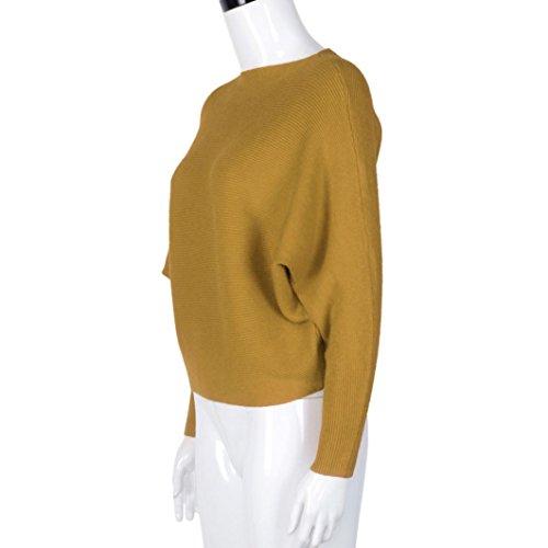 Sannysis Damen Off Schulter Chunky Strick Gestrickte Übergroße Baggy Pullover Gelb