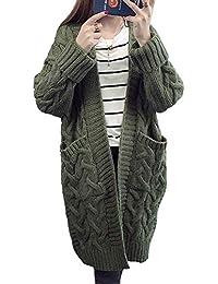 Minetom Cardigan Femme Automne Hiver Manches Longues Torsadé Tricot  Chandail Blouson Casual Deux Poches Tops Veste 22162b54d7fc