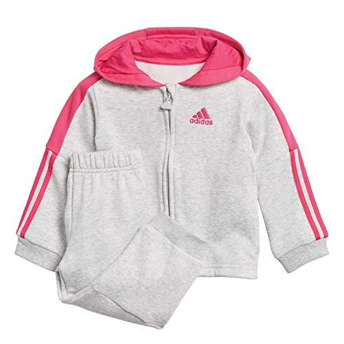 adidas Baby Logo Full Zip Hooded Fleece Trainingsanzug, Light Grey Heather/Real Magenta, 98