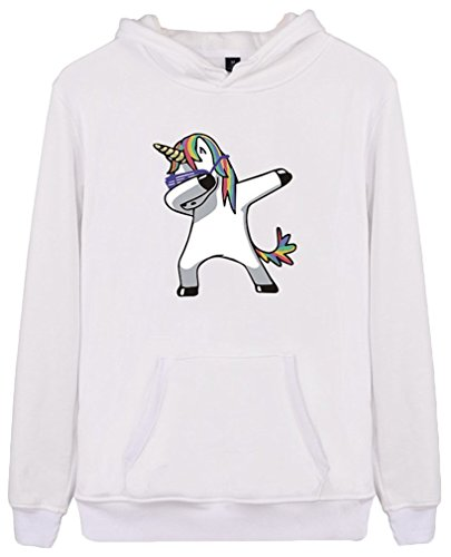 EmilyLe Femme Sweat-Shirt Décontracté Licorne Pull à Manches Longues Unicorn Rainbow Visage-Blanc