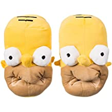 VENKON - Cálido Zapatillas de Peluche en el Diseño Divertido de Homer - Talla Única Adulto - Amarillo