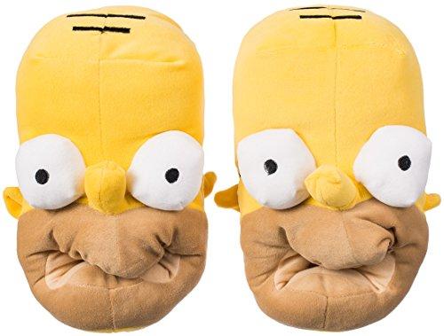 Grinscard Hausschuhe im Homer Design - Gelb Schuh Größe ca. 36 bis 44 - Motiv Plüsch Pantoffeln als Geschenkidee