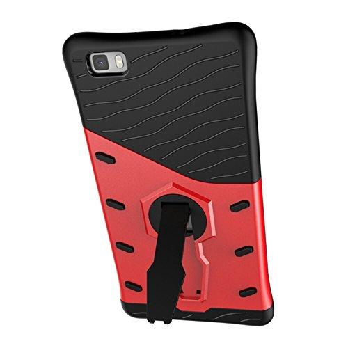 Für Huawei P8 Lite Fall Neue Rüstung Tough Style Hybrid Dual Layer Rüstung Defender Soft TPU / PC Rückseitige Abdeckung Fall Mit 360 ° Stand [Shockproof Case] ( Color : Gold ) Red