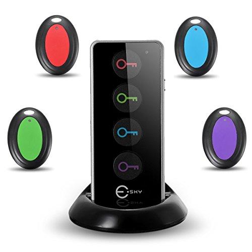 Esky Schlüsselfinder, Esky Wireless Key Finder RF kabelloser Sachenfinder Sender mit 4 Empfänger LED Taschenlampe Tonsignal Licht Lichtzeichen