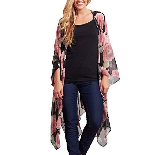 Kimono Cardigan Boho Chiffon Sommerkleid Beach Cover up Leicht Tuch für die Sommermonate am Strand oder See (XL, Z8-Rosa) ()