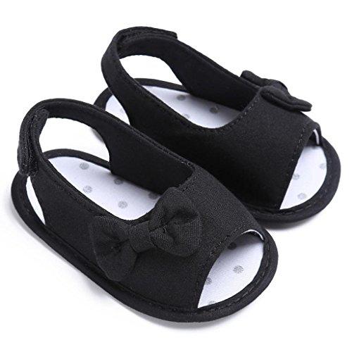 Clode® Kleinkind Baby weiche alleinige Bowknot Schuhe Krippe Prewalker Schuhe Schwarz