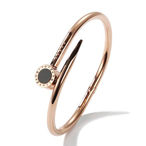 Bracelets Nagel Armband Frauen Überzog 18 Karat Rose Gold Öffnung Armband Flut Männer Titan Stahl Schriftzug Paare Schmuck (Farbe : Rosengold)