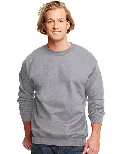 hanes-sweat-shirt-manches-longues-homme-gris-x-large