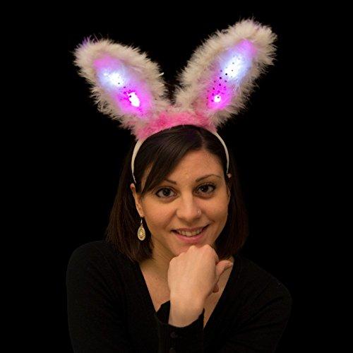 LED Bunny Ohren Pink - Haarreif mit leuchtenden Ohren - LED Haarreif - Karneval, Fasching, Halloween