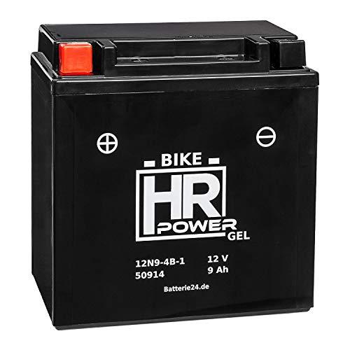 E 1 Batterie (GEL Motorrad Batterie Starterbatterie 12V 9Ah 12N9-4B-1 50914 wartungsfrei)