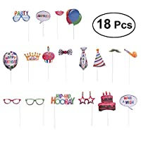 Amosfun Birthday Cake Photo Props Happy Birthday Balloon Cake Candles Photo Accessories 18PCS