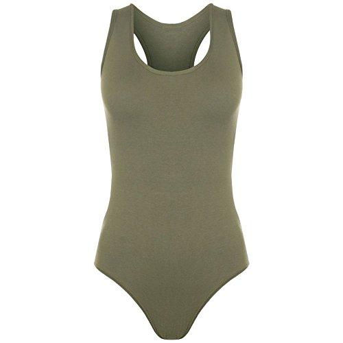 janisramone Femme New musculaire dos nageur sans manches Body stretch justaucorps sans manches pour femme T pour femme Kaki