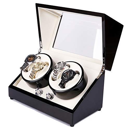 Goolife Automatische Uhrenwinder 4 + 0 Klavierfarben  Luxus-Uhrendarsteller-Box Mit 5 Moden,2,Usplug