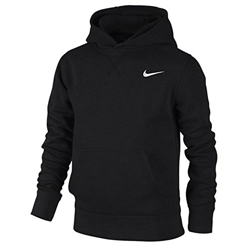 Nike Brushed Sweat-shirt à capuche Garçon, Noir/Blanc-L