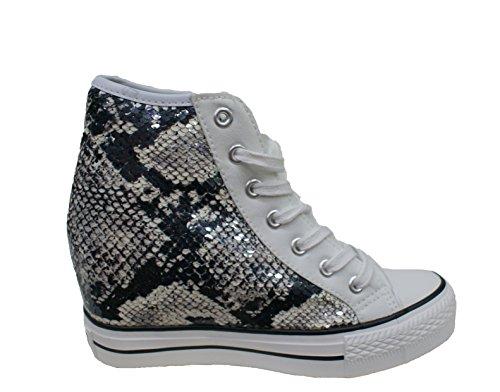 CAF NOIR DG911 milieu Les chaussures noires espadrilles lacets de coin internes MultiBlanc