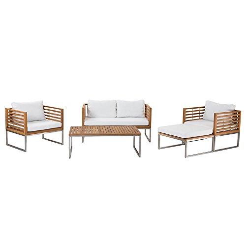Edelstahl Gartenmöbel Set - Tisch - Sofa - 2x Sessel - Ottoman - BERMUDA (Und Sessel Ottoman)