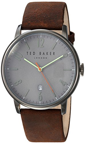 Ted Baker Men's 'DANIEL' Quartz Stainless Steel and Leather Casual Watch, Color:Brown (Model: TE15067004)