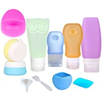 Portable Silicone Travel Bottles Set, 11 Pack with Toiletry Bag Toiletry Dispensing Travel Containers BPA Free Leakproof Refillable Squeezable for Liquid Shampoo, Lotion, Cream, Toiletries
