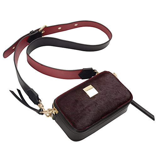 Jamron Damen Sexy Abendkupplungen Exquisit Zwei Reißverschlusstaschen Geldbörse Beutel Mit Abnehmbar Einstellbar Schulterriemen Burgund SN041207 Burgund
