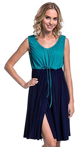 Kleid Medizinische (Happy Mama Damen Geburtskleid Krankenhaus Umstands Nachthemd Stillfunktion. 118p (Wasser & Marine, EU 36/38, S))