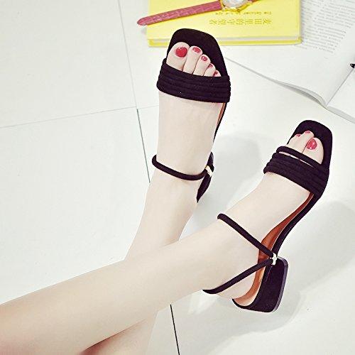 XY&GKSandales femmes deux porter des sandales à bout ouvert à l'été avec un furet femelle avec Glisser Chaussures All-Match rugueux Frosted black