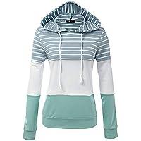 Hanomes Damen pullover, Damen Damen Streifen mit Kapuze Langarm Shirt Bluse Sweatshirt preisvergleich bei billige-tabletten.eu