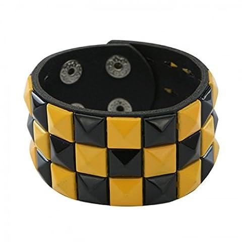 3 Row Black And Yellow Pyramid Stud Wristband/Wrist