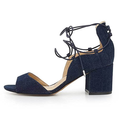 Damen Peep Toe Sommer Sandalen High-Heels Blockabsatz Knöchelriemchen Denim-Schwarz