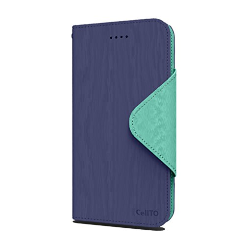 iPhone Case 6S Plus, Cellto PU Housse portefeuille en cuir Support et rabat magnétique réversible [Garantie à vie] de Flip Cover pour Apple iPhone 6S Plus - Bleu Marine / Monnaie Navy Blue/Mint