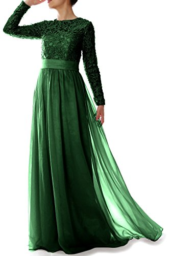 MACloth Elegant Long Sleeve Mother of Bride Dress Lace Formal Evening Gown Dark Green