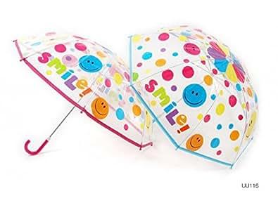 ParapluieEnfants Fille -Smile ! / Smiley- Transparent-Humoristique & pétillant Transparent en provenance d'Angleterre UK - Rose