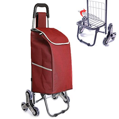SVNA Einkaufstrolley Einkaufsroller Einkaufswagen-Transportwagen-Einkaufslebensmittelgeschäft-Faltbare Warenkorb-Speicher-Mamma,Red -