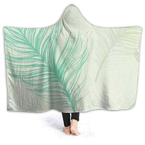 NA Teal Feather Hooded Blanket Decke Superweiche warme Fleecedecke für Kinder und Erwachsene -