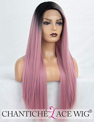 Ombre Pink Lace-Front-Perücke, lang, gerade synthetische Perücken für Frauen mit Rahmen mit Lace-Perücke mit dunklen Wurzeln 24cm