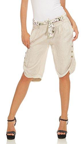 Capri 100% Leinen Bermuda lockere Kurze Hose Freizeithose Shorts mit Gürtel und Knöpfen Beige XXL ()