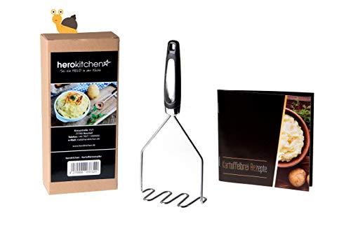 herokitchen Profi Kartoffelstampfer Edelstahl plus Rezeptbuch, Kartoffelpresse Spühlmaschienenfest, für cremiges Kartoffelpüree, Obst und Gemüse, Kartoffel Stampfer Kartoffelbrei, Gemüsestampfer