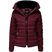 Love My Fashions® - Chaqueta para mujer con capucha acolchada y cuello ajustado de piel