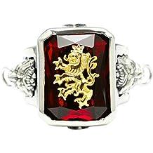 e8429002e8fb Epinki Plata de Ley 925 Gótico Rojo Zirconia Cúbica Oro León Anillo para  Hombre para Compromiso