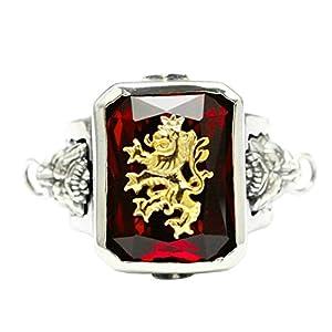 Aundiz 925 Silber Ring für Herren Löwenkopf Edelstein Ringe