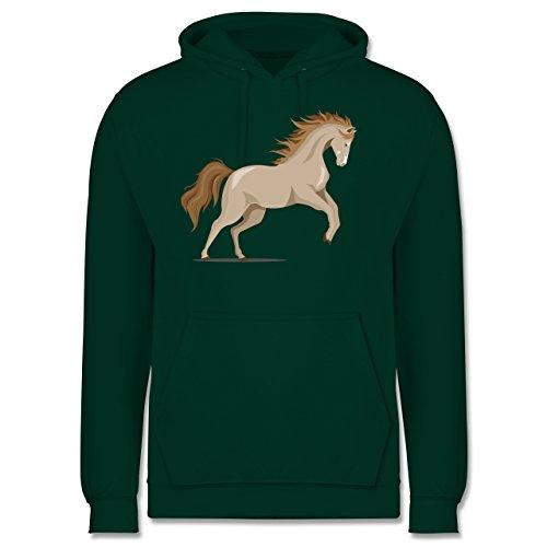 Pferde - steigendes Pferd - Herren Hoodie Dunkelgrün
