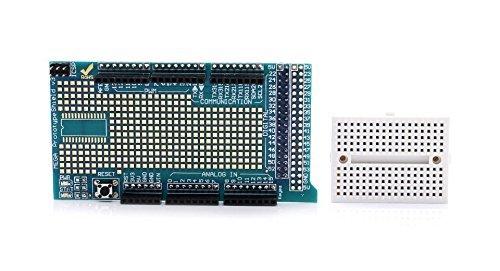 Mega Prototype Shield V3, Expansion Board with Miniature 170 Pt. Breadboard fitted for Arduino Mega, RBTMKR (Arduino Mega 2560 V3)