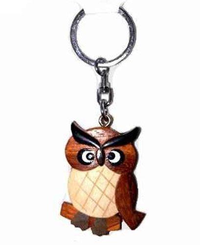 Preisvergleich Produktbild Eule Uhu Ohreule Hornedowl Schlüsselanhänger aus Holz