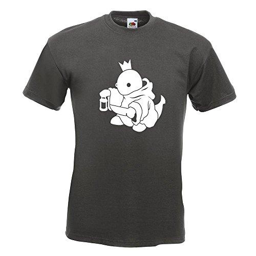 KIWISTAR - Boss Fight King König T-Shirt in 15 verschiedenen Farben - Herren Funshirt bedruckt Design Sprüche Spruch Motive Oberteil Baumwolle Print Größe S M L XL XXL Graphit