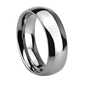 Top Value Jewelry - Mens Wedding Band, Tungsten Ring, Chrome High Polish Finish, Dome, Classy, 8MM - Available Sizes 8-14 Half Sizes (14) - UK Size: Z+3