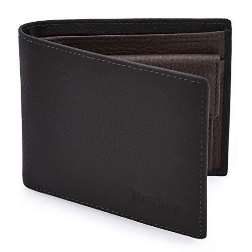 NEWHEY Geldbörse Herren Leder RFID Schutz Geldbeutel Männer Portmonee Portemonnaie Mens Wallet 8 Kartenfächer Echtleder Grau -