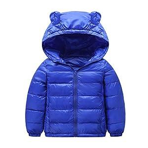 VORCOOL Mädchen Jungen Wintermantel Packable Puffy Padded Oberbekleidung Reißverschluss Kapuzenjacke Kleine mittelgroße Kinder niedlich Ohr Herbst Winter Baumwolle Jacke Größe 120 cm (Royal Blue)