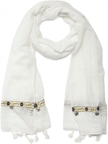Soft Floral Schal (styleBREAKER unifarbener Ethno Style Schal mit Blümchen Borte, Quasten und Medaillon Anhängern, Damen 01016104, Farbe:Weiß (Creme-Weiß))