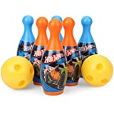 Mattel Hot-Wheels Bowling Set Packed In PVC Carry Case For Children Of Age 3 To 8 Years | Premium Quality | Certified Safe As Per European Safety Standards (EN71) | Sports Development Toys For Kids | Multi Color | Includes 6 Pins And 2 Balls