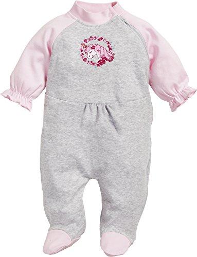 Playshoes Baby-Mädchen Schlafoverall Interlock Einhorn Schlafstrampler, Grau (Grau/Melange 37), 50