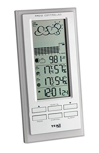 TFA Dostmann Faktum Funk-Wetterstation, Wettervorhersage mit Symbolen, Raumklima, Außentemperatur, Mondphasen, Funkuhr